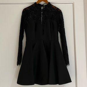 Lace sweetheart neckline long sleeve mini dress